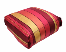 Moroccan Pouf Pouffe Footrest Floor Cushion Cover Red Sabra Silk with Tassels XL  65 x 65 x 30 cm